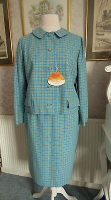Vintage deadstock 60s Pendleton ladies wool blue green check skirt suit L XL 20
