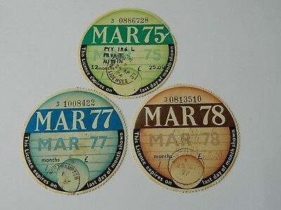 3 x ORIGINAL 1970'S CAR TAX DISCS From Austin Mini PYY 186L