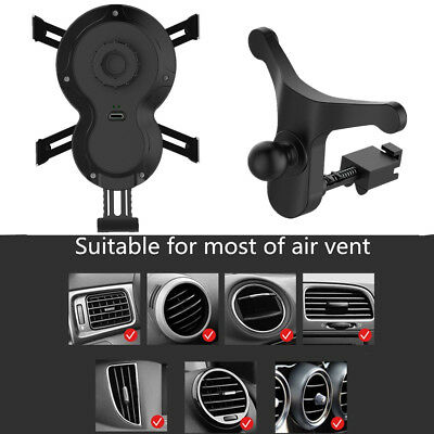 """Black Micro USB Interface QI Car Charger Rotatable 4.7""""-6.2"""" Phone Compatibility"""