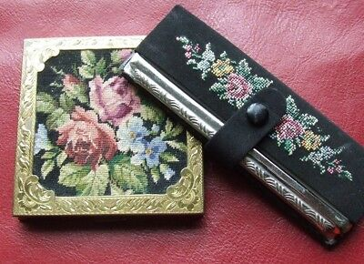 Gorgeous Vintage Petit Point Case Comb PLUS Stunning Compact Gold Tones