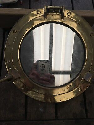 Vintage Solid Brass Porthole Maritime Nautical Ship Boat Window Wall Mirror 30cm