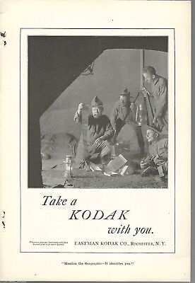 1917 KODAK advertisement, Eastman Kodak, WWI soldier, developed film