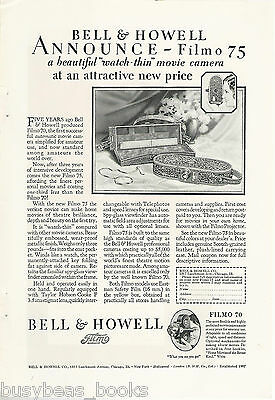 1928 Bell & Howell advertisement, FILMO Movie Camera, Filmo 75