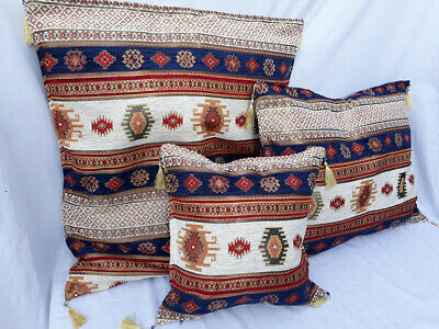 Turkish Cushion Covers Double Sided Chenille Kilim Cotton 44x44cm