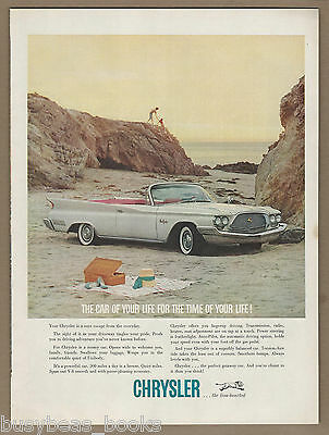 1960 Chrysler NEW YORKER advertisement, white New Yorker at picnic on the beach