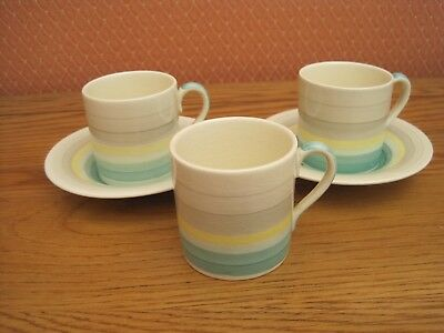 Susie Cooper Wedding Band Coffee can/saucer, 3 cups 2 saucers.