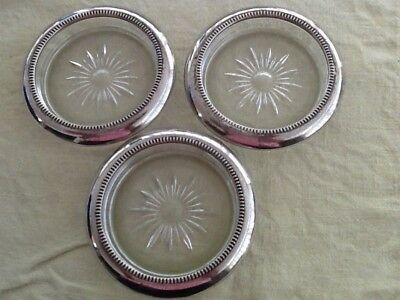3 coasters LEONARD silver plate ITALY with glass base vintage RARE