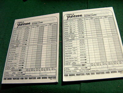 78 Triple Yahtzee Score Sheets Pads Cards - double sided