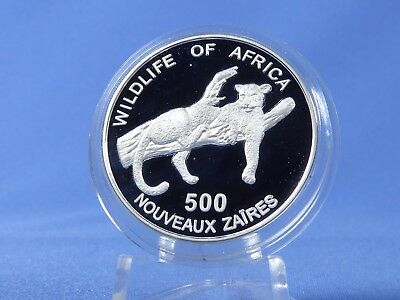 Zaire 500 NZ Kongo Zaire 1996, Wilflife of Africa ,Silber *PP/Proof* (19151 )