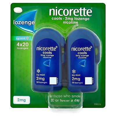Nicorette Cools Icy Mint 80 Lozenges 2mg Stop Smoking Aid ... Choose Quantity