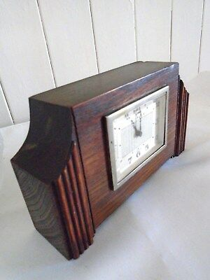 Small Iconic Art Deco Oak Mantel Clock Gwo