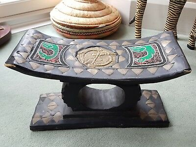 Rare Unusual Antique Vintage African Ashanti Wood Carved Stool With Metal Inlays