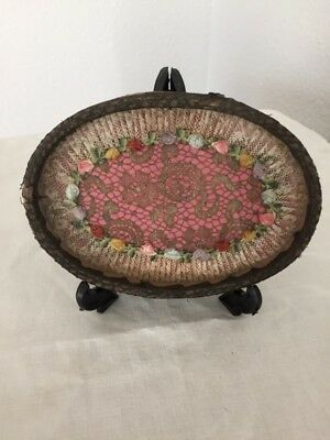 Vintage 1920's-30's French Ribbon Work Roses Silk Lace Passementerie Vanity Tray