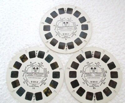 Vintage 3D VIEW MASTER Reels 'Mickey Mouse, Disney'. 3 in set