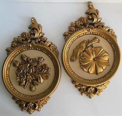 Syroco Floral Wall Plaques Mid Century Ornate Floral Gold Resin USA # 7490