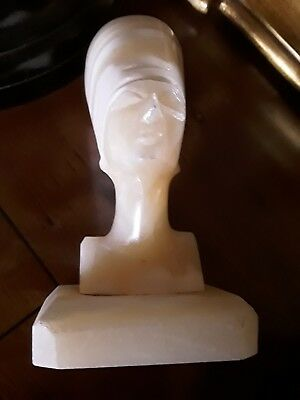 Vintage early 1960's Carved Onyx Stone Head Bust of a Pharoah on Onyx Base