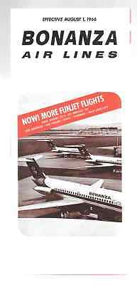 ***1966 Bonanza Air Lines System Timetable - August 1, 1966***