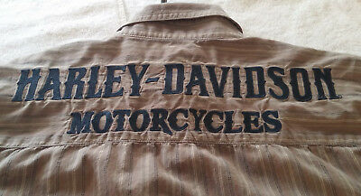 Harley Davidson Embroidered Stripe Shirt Excellent Condition