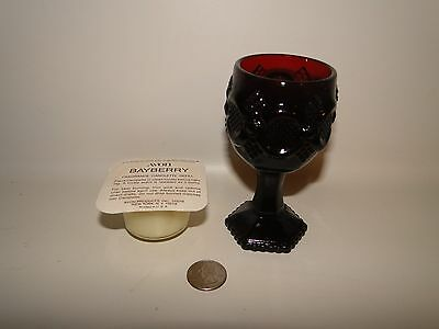 """Vintage 4 5/8"""" Avon 1876 Cape Cod Collection Ruby Red Wine Goblet Candle Holder"""