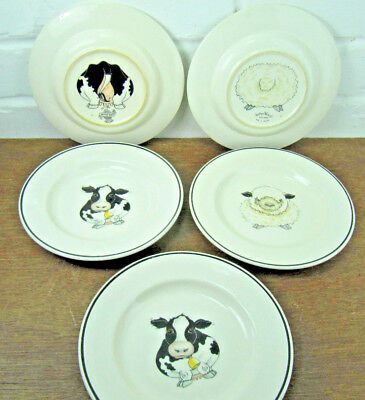 5 Arthur Wood Back To Front Side Plates  2 Sheep 3 Cows