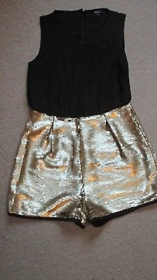 """Girls """"new Look 915"""" Black/gold Sequinned Shorts Playsuit - Age 12 Years"""