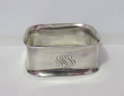Antique Towle Square Sterling Silver Napkin Ring Initials Mlb