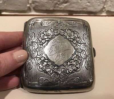 Antique Sterling Silver Engraved Curved Cigarette Case Gold Washed Inside