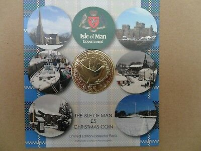 NEW 2017 ISLE OF MAN CHRISTMAS £5 FIVE POUND COIN IN CARD - LTD ED IoM MANX XMAS