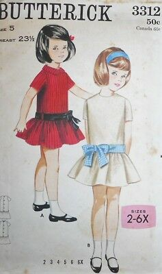 Vintage Butterick GIRLS' LOW-WAISTED DRESS Sewing Pattern~SIZE 5~#3312~FLOUNCE !