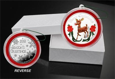 2018 RUDOLPH  COLOR  1 oz Fine  Silver Christmas Round with box