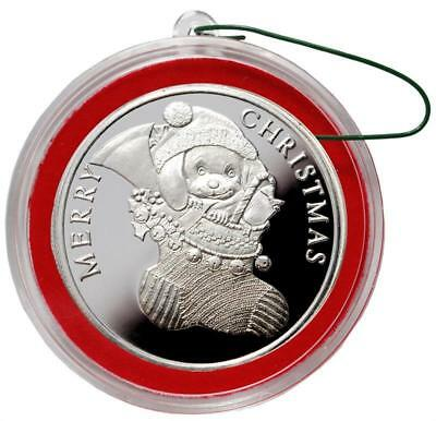 2018 PUPPY   1 oz Fine  Silver Christmas Round with box