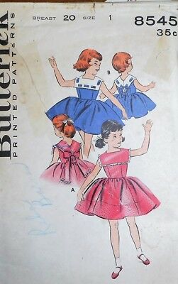 Vintage 1950s Butterick GIRLS' DRESS w/SQUARE CAPELET COLLAR Pattern~SZ 1~#8545