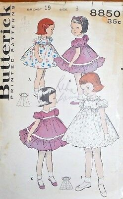 Vintage 1950s Butterick TODDLERS' EMPIRE BODICE DRESS Sewing Pattern~SZ 1/2~8850