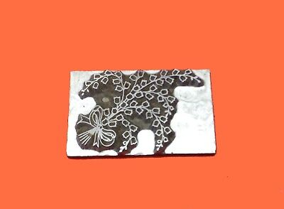 HOT FOIL PRINTING PLATE LETTERPRESS BLOCK Wedding Bow &  Flowers 41 x 30mm #161