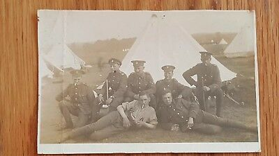 WWI Era Military Photo Postcard Hertfordshire Territorial Soldiers In Tented...