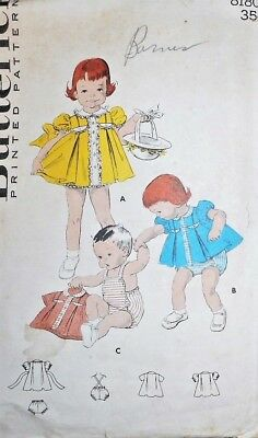 Vintage 1950s Butterick TODDLER SMOCK DRESS & PANTIES Sewing Pattern~SZ 1/2~8180