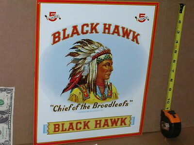 BLACKHAWK Chief of the Broadleafs 5 Cents CIGAR Indian METAL SIGN CloseUp Detail