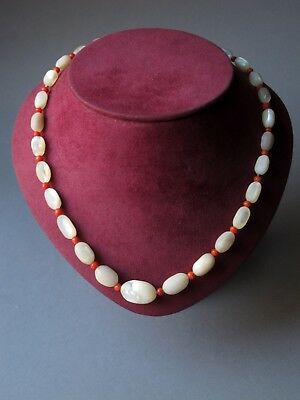 Vintage Mother of Pearl Graduated Oval Beads and Orange Glass Bead Necklace