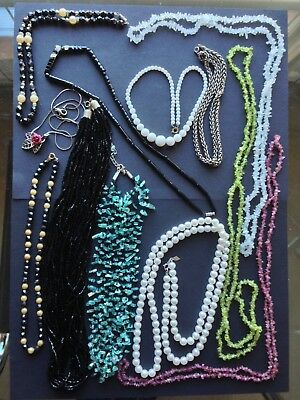 Large job lot of vintage necklaces - glass and semi precious stone beads