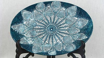 Handmade Handcrafted Ceramic Clay Glazed Art Pottery Large Platter Antique Lace
