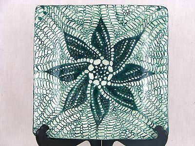 Handcrafted Artisan Ceramic Clay Glazed Art Pottery Large Plate Antique Lace