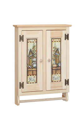Amish Handmade Rustic Two Door Wall Cabinet Unfinished Solid Pine