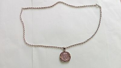Ancient Silver Chain With Roman Coin