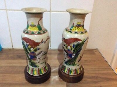 Pair Of Chinese Crackle Glazed Antique Vases Depicting Warriors On Stands