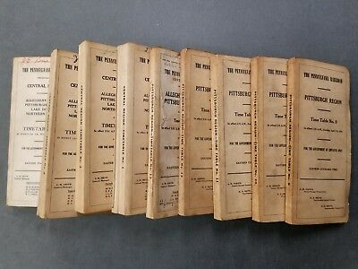 PRR Employee Timetable Lot - 1960 to 1967 - Pittsburgh & Central Regions - 9 Pcs