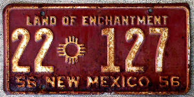 1956 White on Maroon New Mexico License Plate
