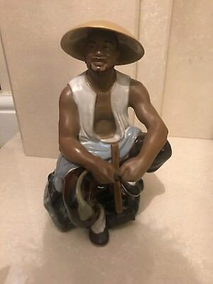 Vintage Chinese Mudman Workman With Hammer Figurine