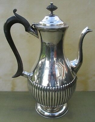Good Antique Victorian Sterling silver fluted coffee pot, 567 grams, 1885, crest