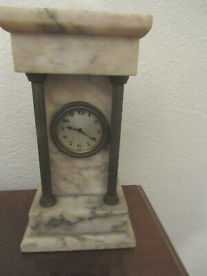 Antique Germany marble fluted brass column shelf clock not running
