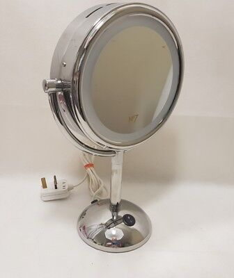 No 7 Chrome Double Sided Make-up Mirror with Light